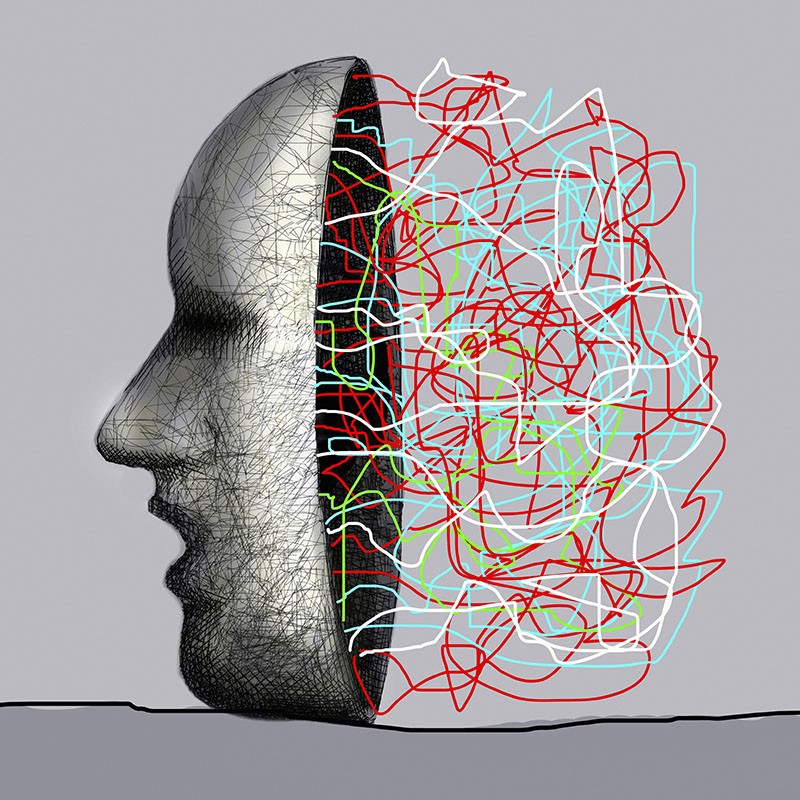 Illustration of a masked face with lines of thoughts