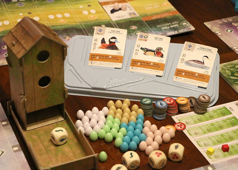 The game Wingspan, as set up on a table