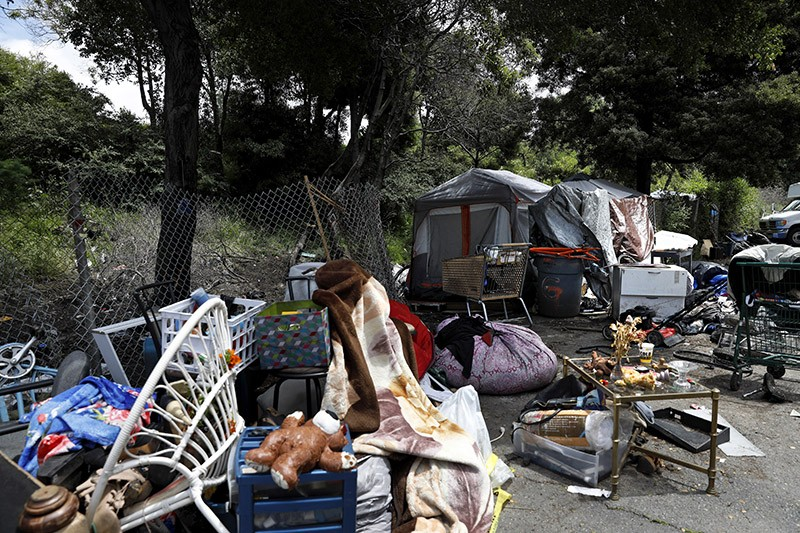 A homeless encampment in Oakland, Calif., on Monday, May 20, 2019.
