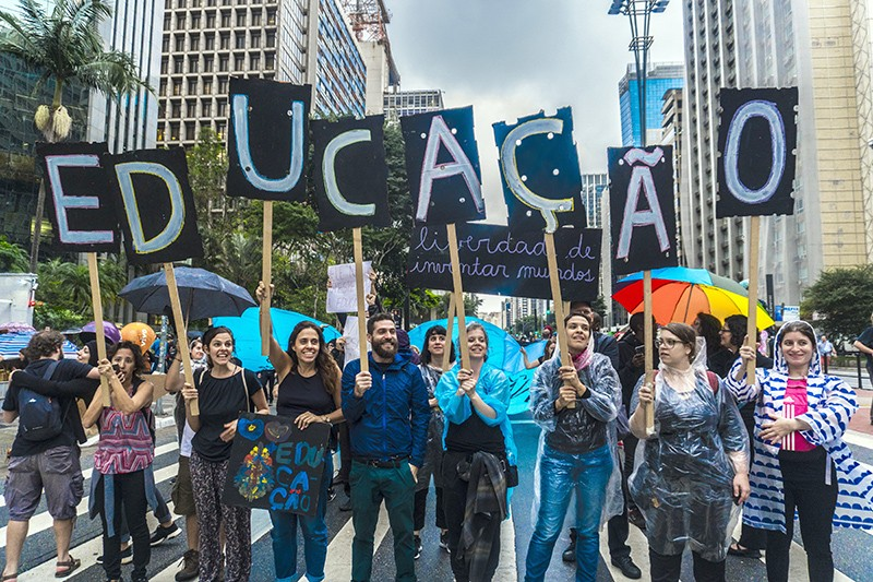 People demonstrate against education cuts and pension reform in Sao Paulo, Brazil