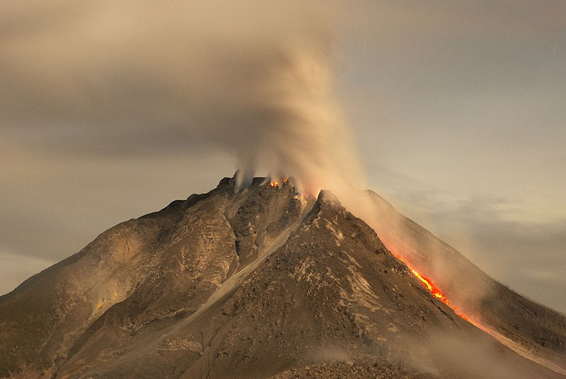 The active Sinabung volcano in Indonesia, 2017