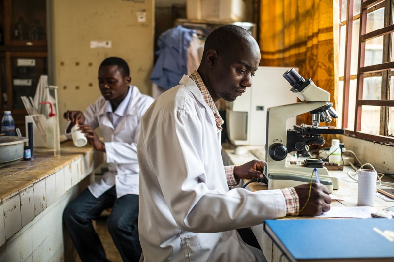 Students work at a laboratory at the Catholic University of Graben in Butembo in the Democratic Republic of Congo