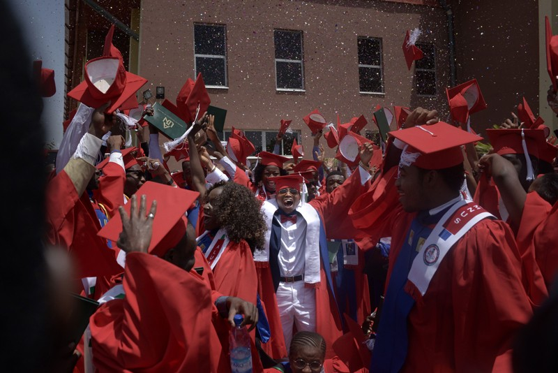 Students celebrate at the Commencement Ceremony at the American University of Nigeria