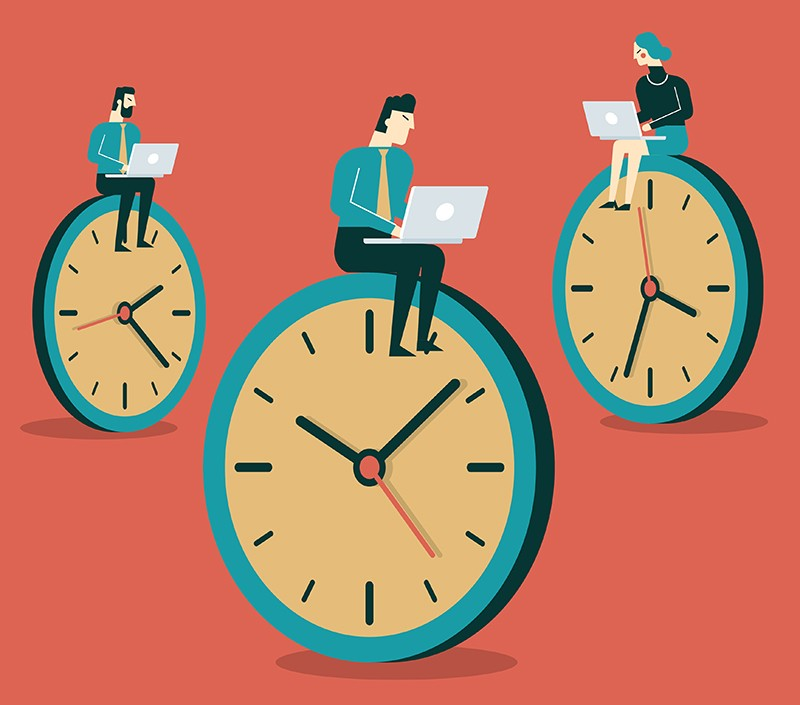Illustration of people working on clock