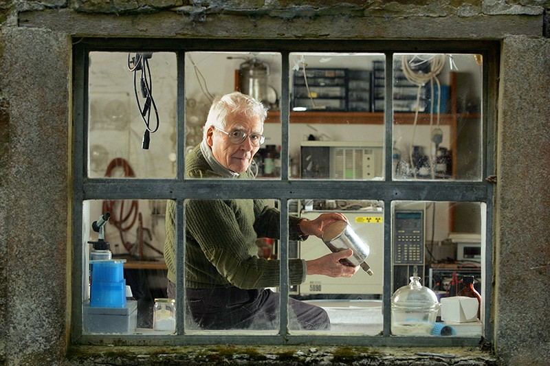 James Lovelock in his laboratory at home on the Devon–Cornwall border, UK