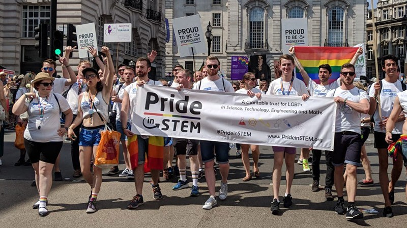Supporters of the Pride in STEM campaign marching at Pride 2018 in London