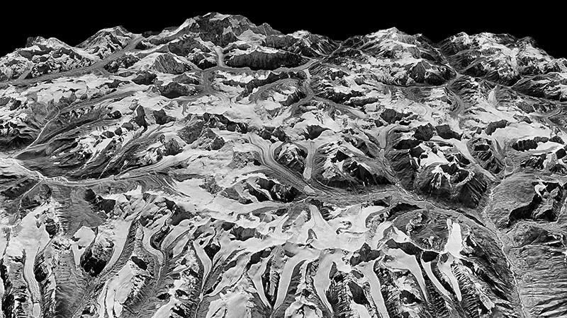 A spy satellite photo from 1975 of the Himalayas on the border of Sikkim, India and eastern Nepal