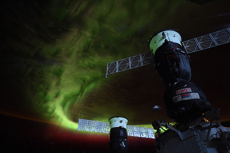 An aurora photographed from the International Space Station