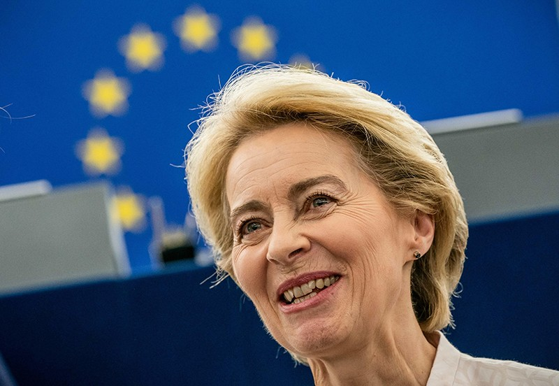 Ursula von der Leyen standing in front of the MEPs in the plenary hall after her application speech.