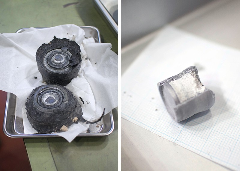 Left, samples removed from the core; Right, the synthesized hBN crystals