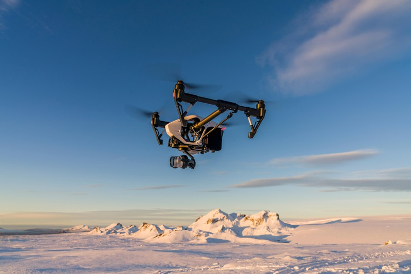 Drone flying over a glacier in Iceland