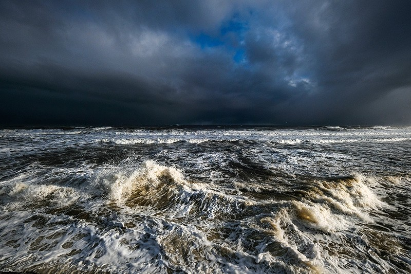 Storm clouds form over the North Sea in Whitby, England