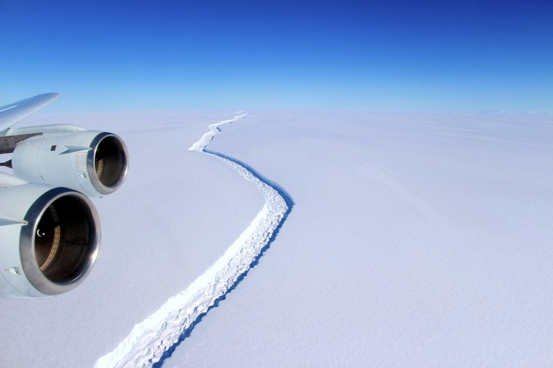 Aerial view of the Larsen C ice shelf, Antarctica