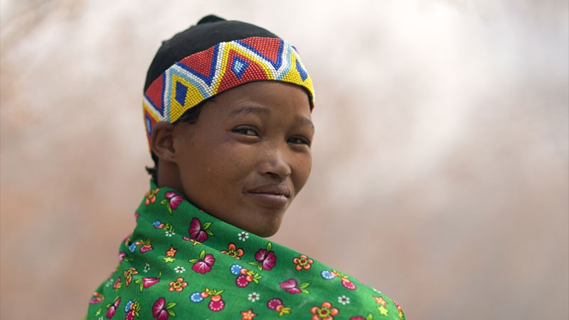 Portrait of Miss Huce Kgao, a woman From the San Tribe in Namibia taken in 2010