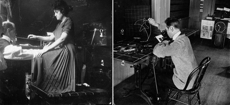 Frank B. Gilbreth motion study photographs of a typist and lab-worker
