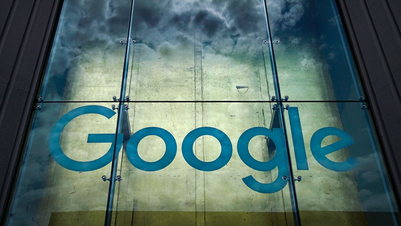 The Google logo adorns the outside of their office in New York City.