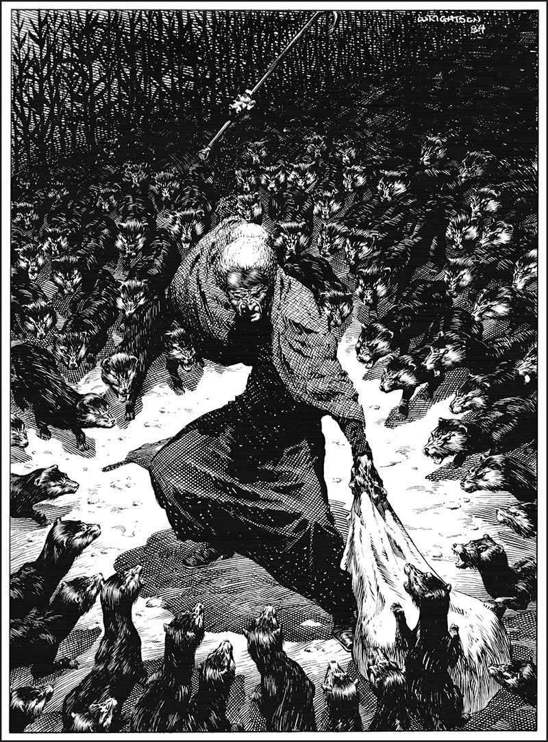 Illustration of Abagail Freemantle facing the Dark Man's minions