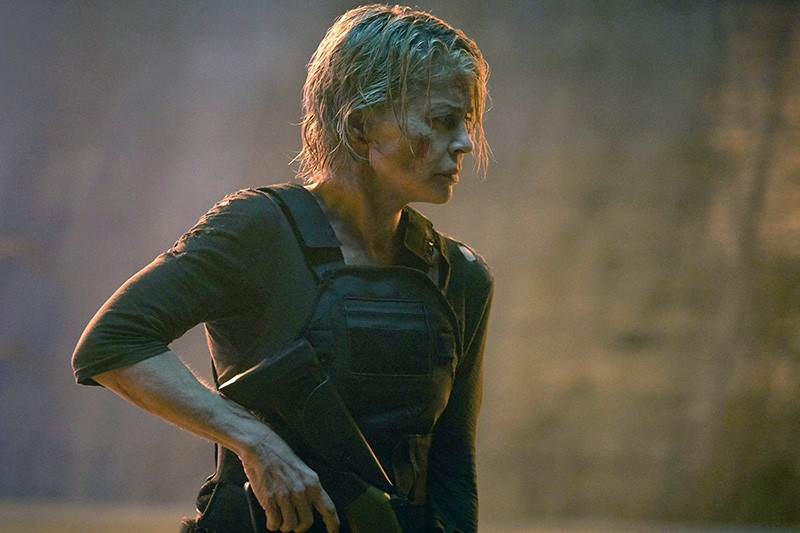 Linda Hamilton in a movie still of Terminator: Dark Fate, 2019