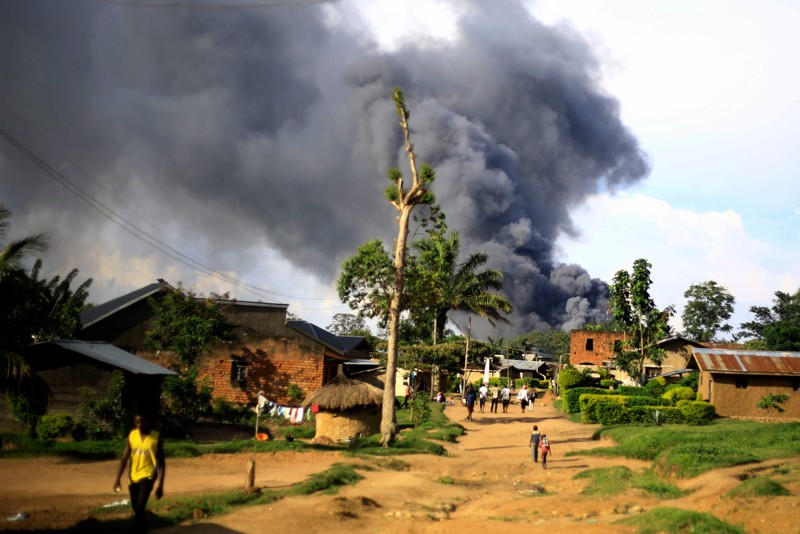 Smoke from the United Nations compound rises in Beni, Democratic Republic of Congo