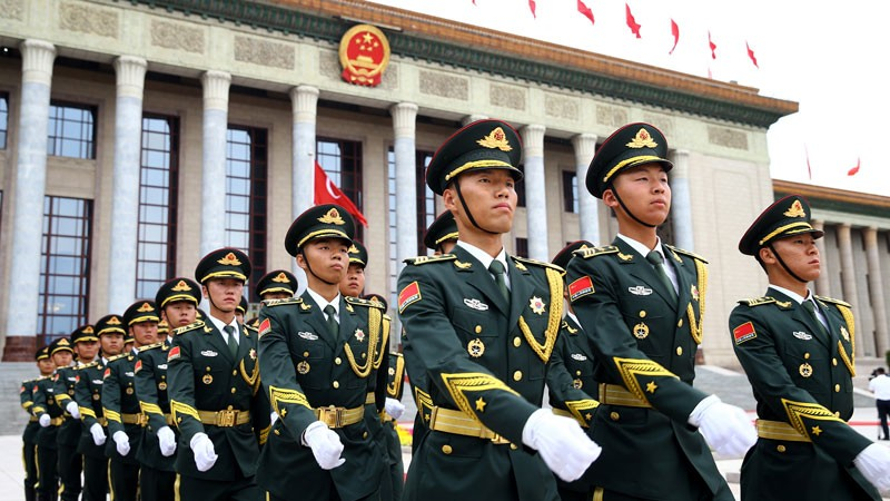Chinese People's Liberation Army honor guards.