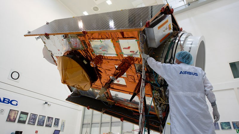 The Copernicus Sentinel-6 stands on display at the IABG space test centre, near Munich, Germany.