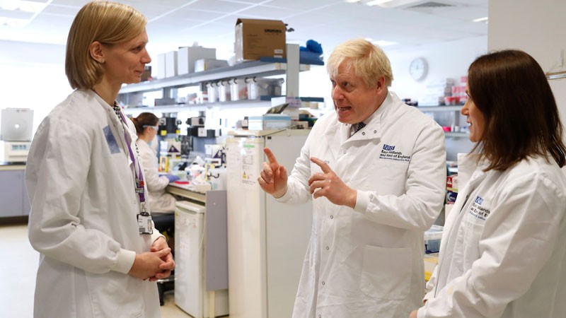 British Prime Minister Boris Johnson at the Cambridge Clinical Research Facility, in Addenbrooke's Hospital in Cambridge.
