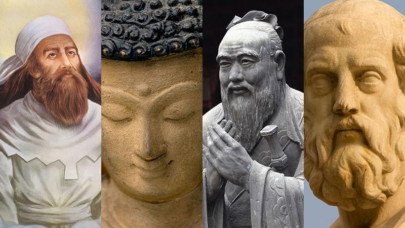Zarathustra, Buddha, Confucius and Plato (L-R).