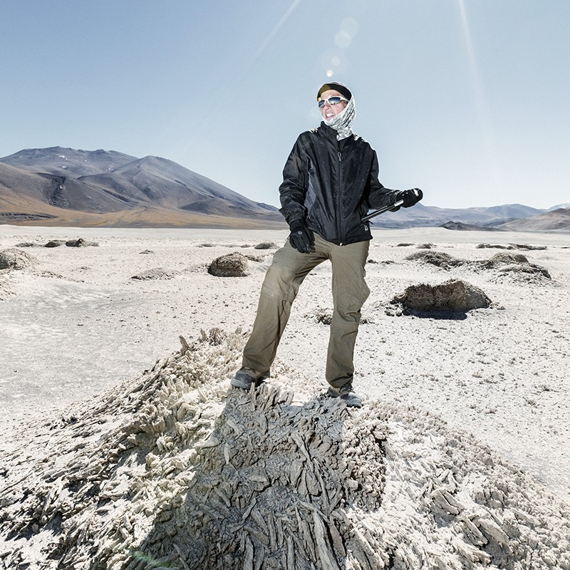 Nathalie Cabrol, head of the SETI Institute, researching in the mountains of Chile