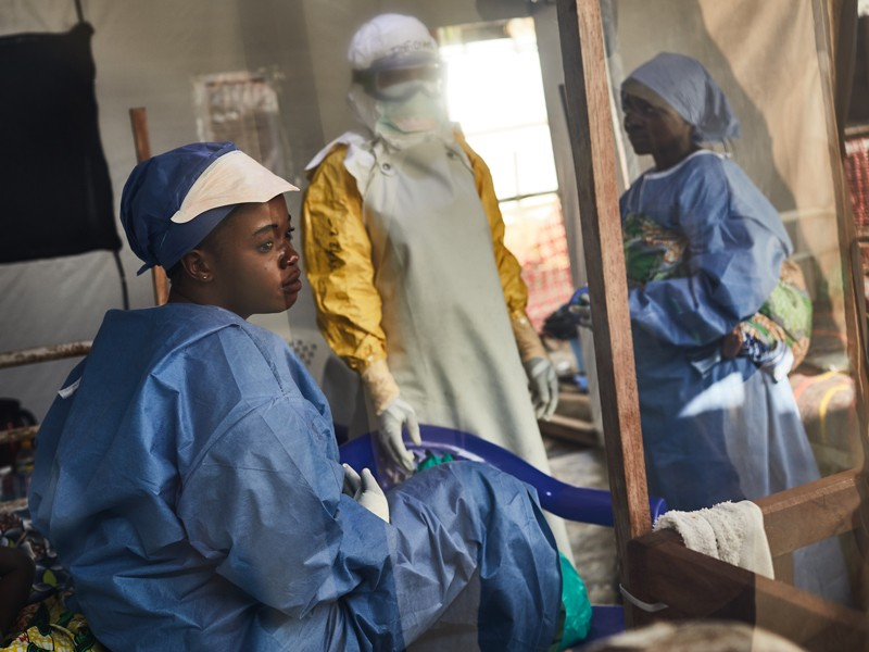 Health workers at an Ebola treatment centre in North Kivu, Democratic Republic of Congo