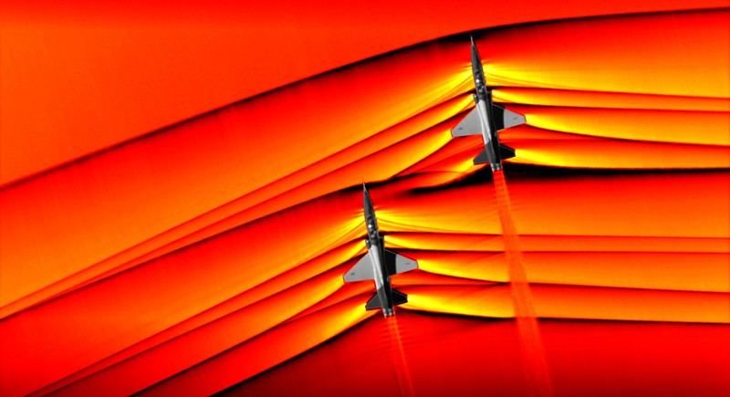 The interaction of shockwaves from two supersonic aircraft flying in formation