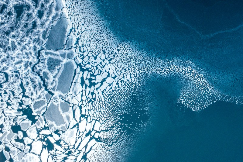 Aerial view of the sea ice in formation in East Greenland