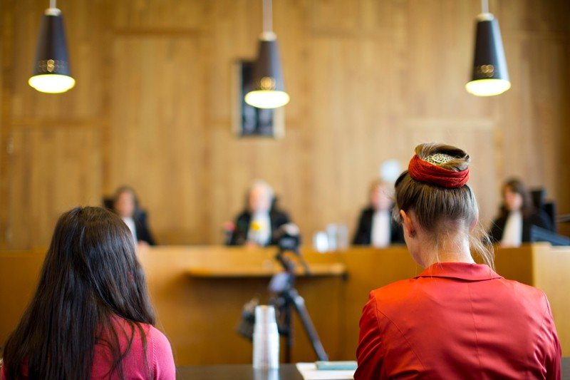 Marjan Minnesma and fellow plaintiff Anica van Staa, wait for the judges, to deliver their verdict in The Hague, Netherlands