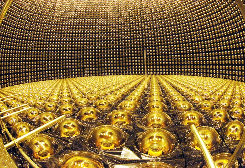 Photomultiplier tubes are arranged at Super-Kamiokande neutrino detector facility, Japan.