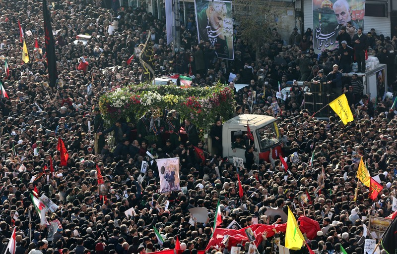 Thousands of people attend the funeral ceremony of Qasem Soleimani, Iran