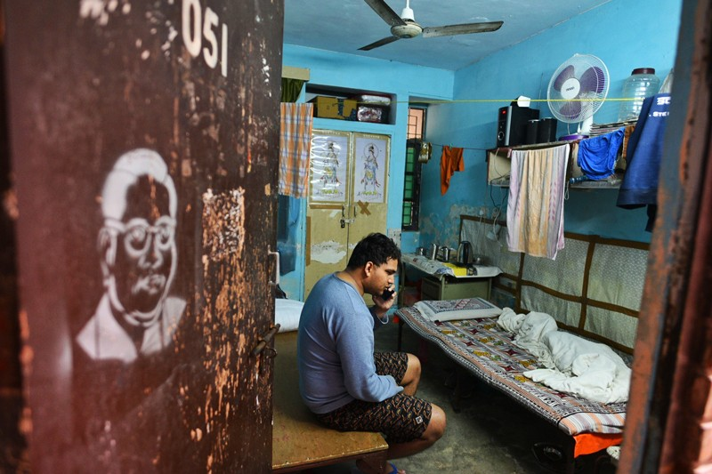 Surya Prakash, a visually impaired Sanskrit scholar, in his room at Jawaharlal Nehru University, where he was beaten up