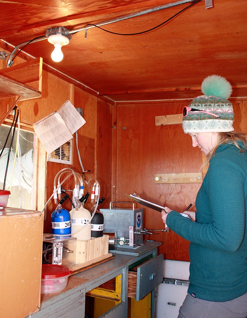 Jen Morse collects air samples at a station on Niwot Ridge in Colorado, USA
