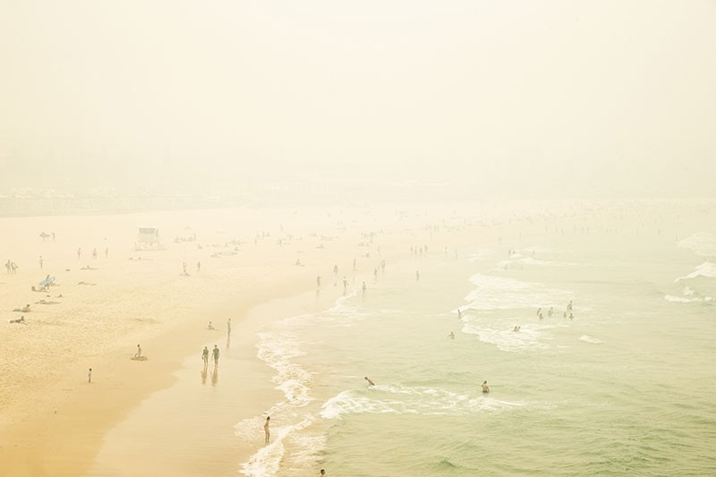 Smoke haze is seen over Bondi Beach as the air quality index reaches higher than ten times hazardous levels in some areas.