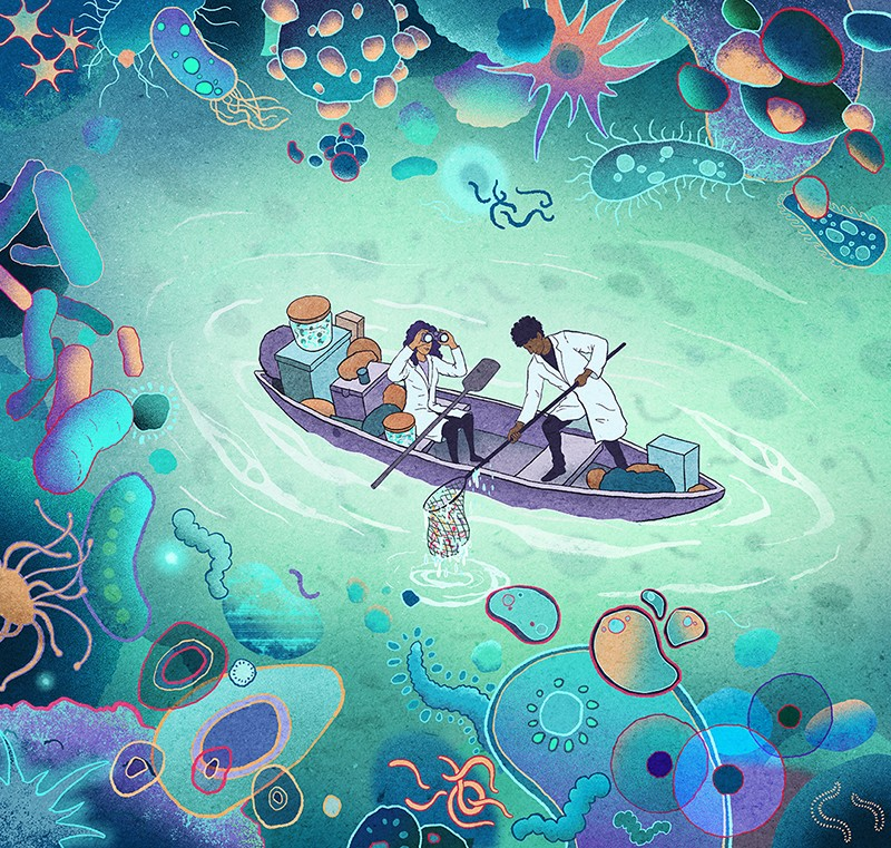 Cartoon-style image of researchers in a boat floating through a sea of microbes
