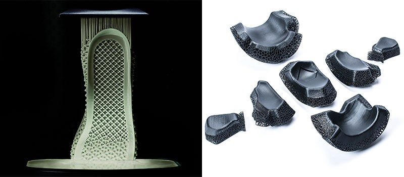 A composite image of the Adidas Futurecraft 4D shoe being printed and a selection of American Football Helmet pads
