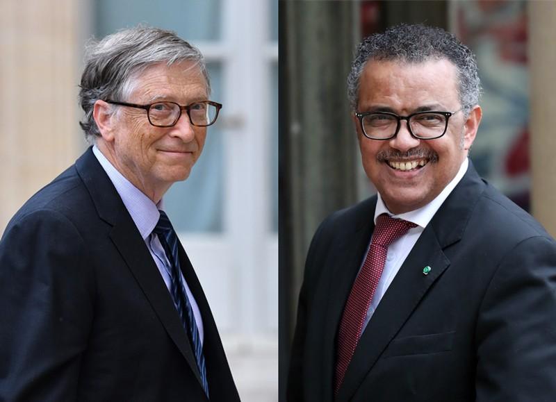 Composite image of Bill Gates and Tedros Adhanom Ghebreyesus