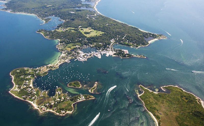 Aerial view over the peninsular and bay at Woods Hole