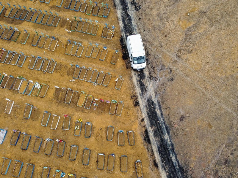 Aerial view showing a new area (R) cleared to accomodate new graves in the cemetery in Manaus.