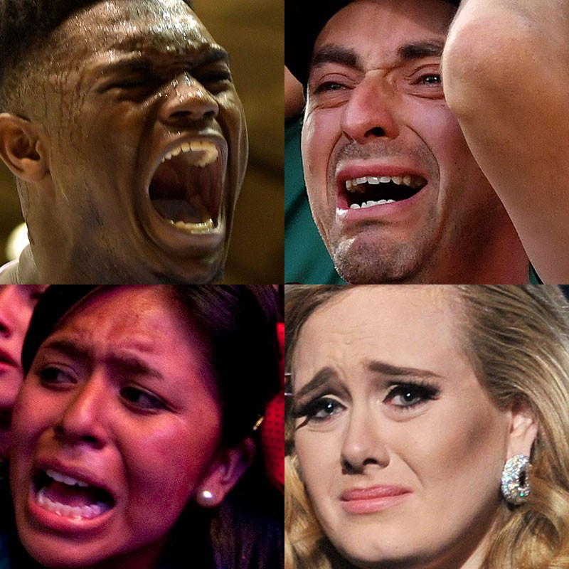 Combination image of four extreme close up photos of people's emotional faces