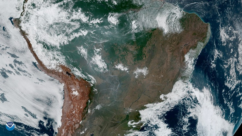 Fires, burning in the Amazon Rainforest, are pictured from space.