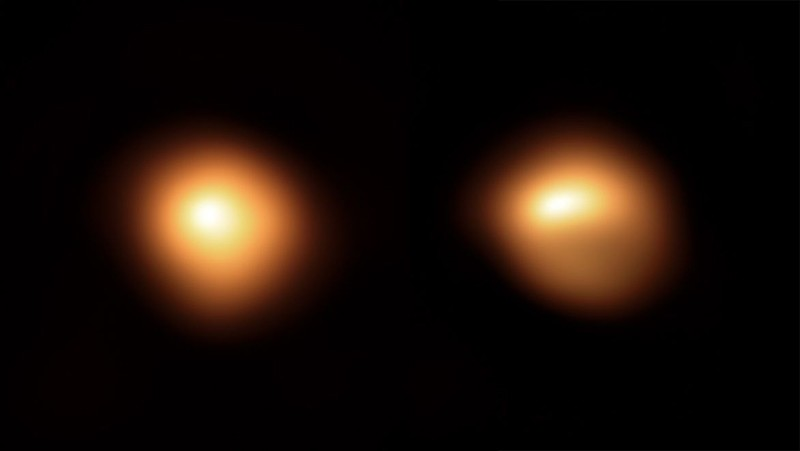 Two side by side images of the star Betelgeuse, taken in January 2019 and Dec 2019, show the star has dimmed and changed shape