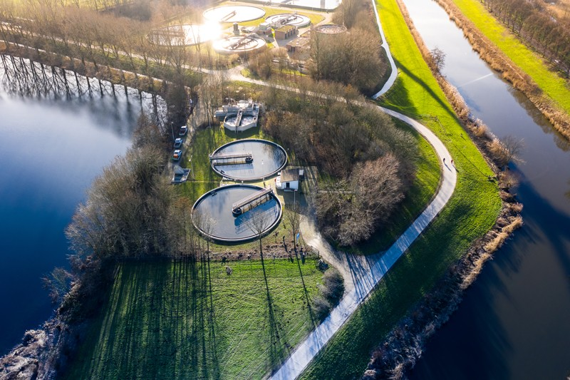 A bird's eye view of a water cleaning plant purifying sewage water, Netherlands