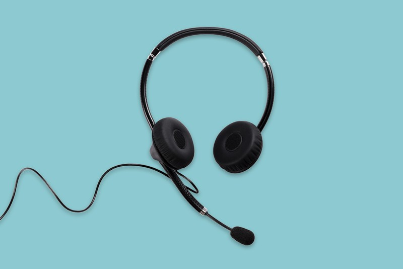 Headset with microphone on a blue background