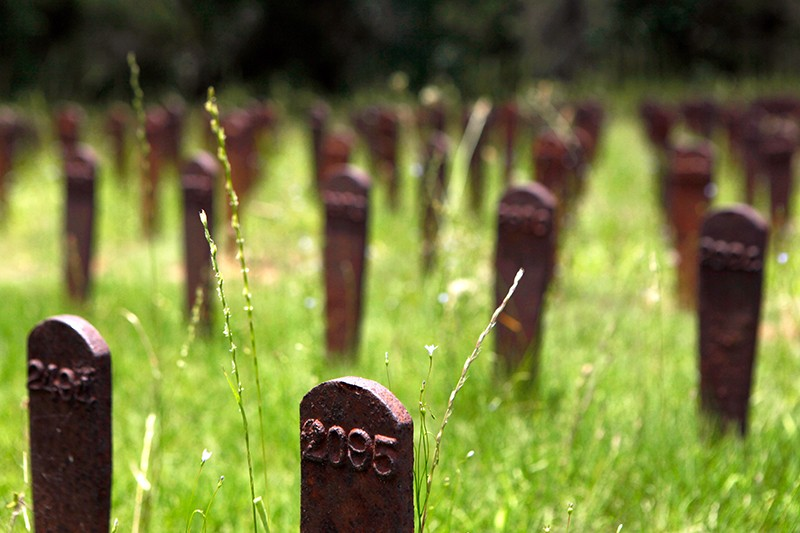 Iron markers, displaced from graves over the years, stand in memorial of psychiatric patients buried at the Milledgeville asylum