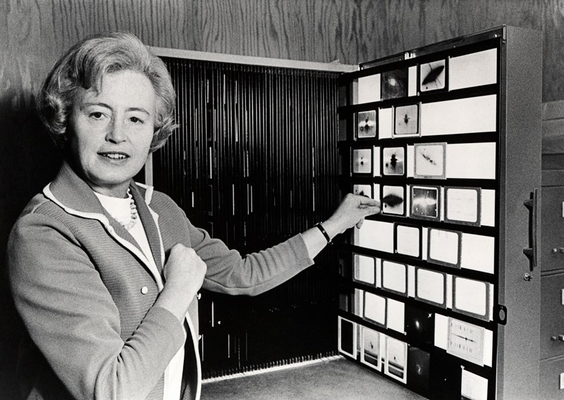 Margaret Burbidge posing for a photograph in front of a display of astronomical glass plates