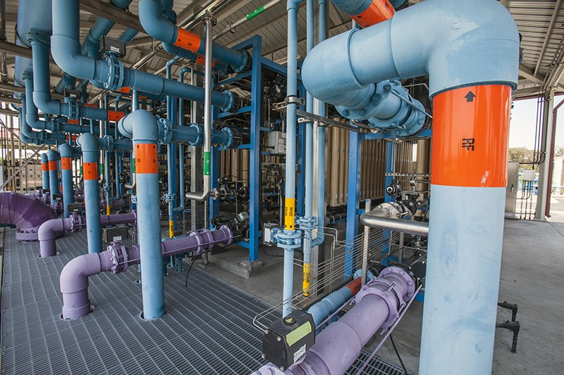 A micro-filtration process removes bacteria, fine particles and sediments from treated water in California
